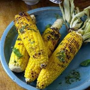 Grilled Corn with Basil & Lime