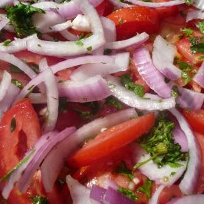 Tomato Cucumber Salad with Herbed Yogurt Dressing