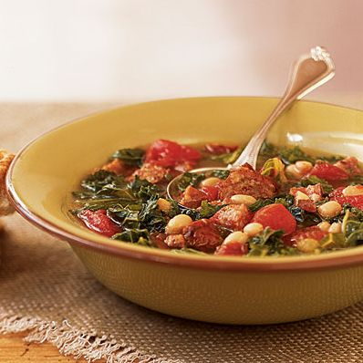 Winter Squash and Bean Soup with Kale and Sausage