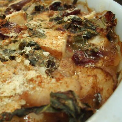 Collard, Pear, and Caramelized Onion Casserole