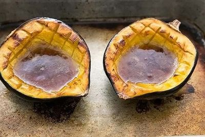 Jo Jos'  Famous Baked Acorn Squash with Pumpkin Butter n' Brown Sugar Recipe